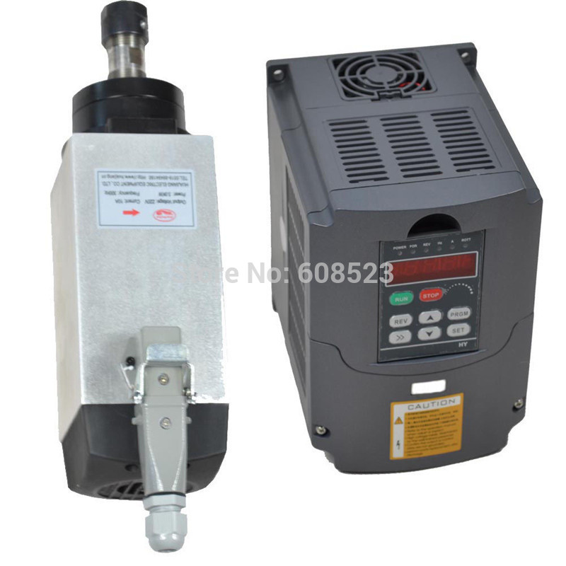 FOUR BEARING ER20 SPINDLE MOTOR 3KW AIR-COOLED110V &VFD INVERTER3kw  110v  cnc set