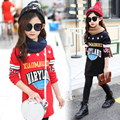 High Standard Kids Clothes Red Pink Black Fleece Floral Print Letter Design Sleeve Medium Style Girls Basing Shirt Free Shipping