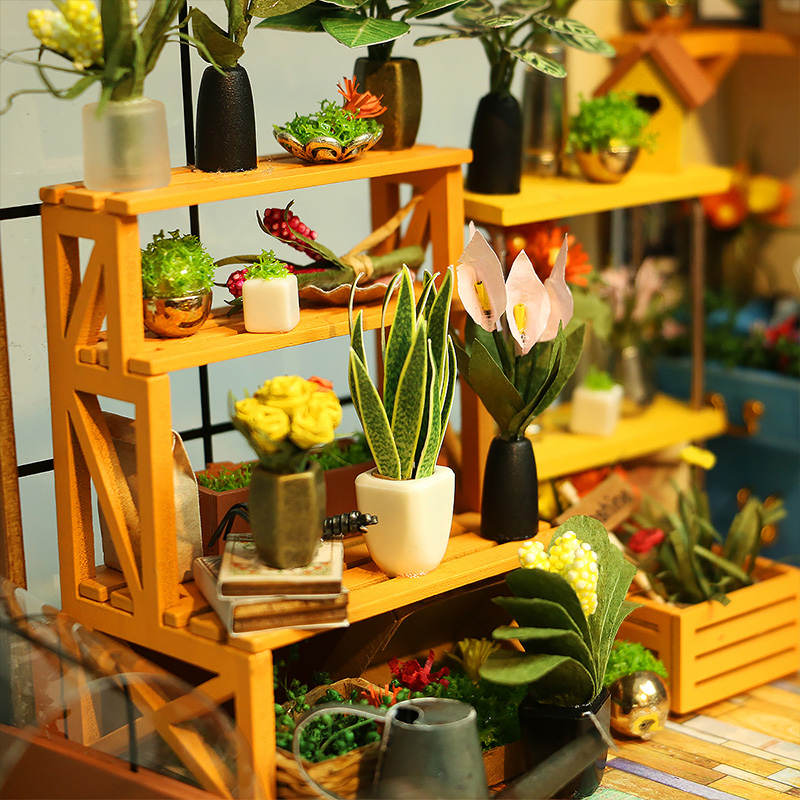 Doll-House-Miniature-DIY-Dollhouse-With-Furnitures-Wooden-House-Toys-For-Children-Kathys-Flower-House-Robotime-DG104-2