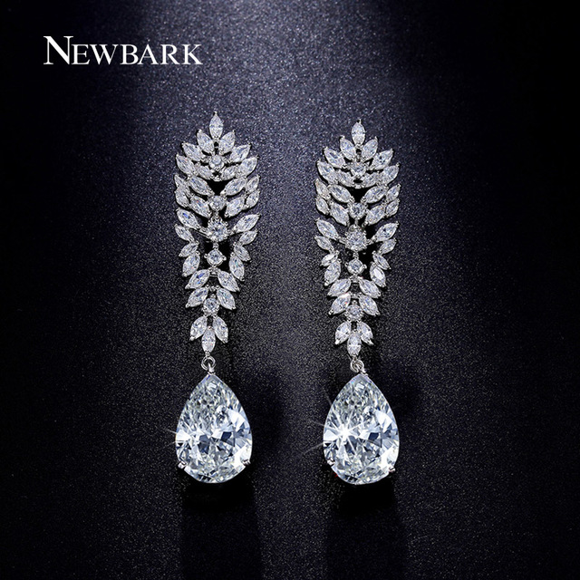 NEWBARK Crystal Teardrop Drop Earrings Silver Color Cubic Zirconia Long  Bridal Wedding Earrings Fashion Jewelry Brincos 2dbca6fd6d0c