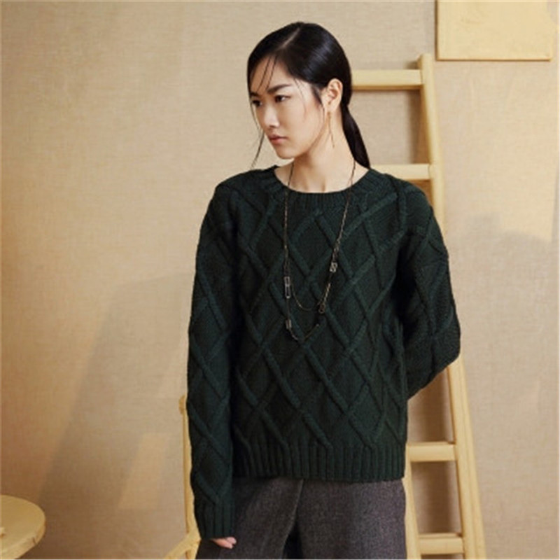 100%hand Made Pure Wool Twisted Knit Women Streetwear Oneck Argyle Solid H-straight Pullover Sweater One&over Size