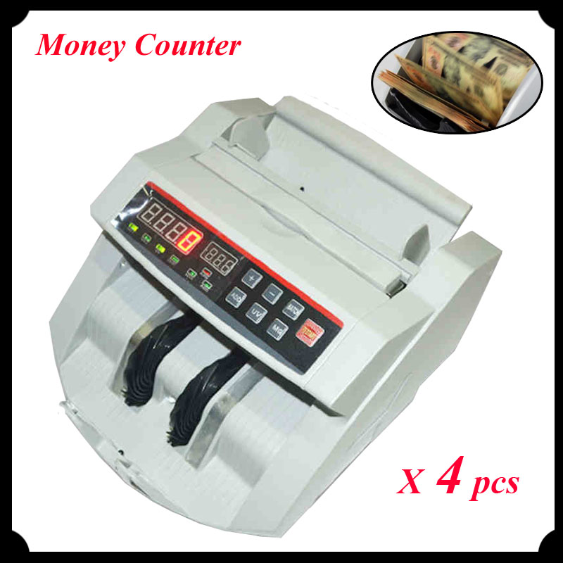 4pcs/lot Bill Counter 110V/ 220V Money Counter Suitable for EURO US DOLLAR etc. Multi-Currency Compatible Cash Counting Machine