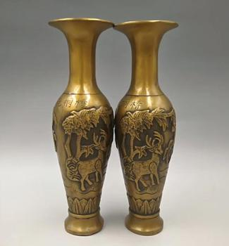 Collect exquisite brass handicraft Crane deer vase A pair