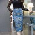 Neophil 2016 Mujeres Del Verano de Cintura Alta Faldas Lápiz Midi Delgado Moda Geométrica Imprimir Stretch Bodycon Saias Jupe Femme S1607001