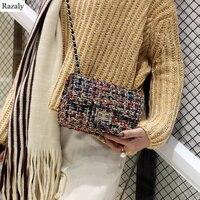 women leather knitting clutch gold chain messenger bags crossbody lock purse and handbags feminina bolsa shoulder cover evening