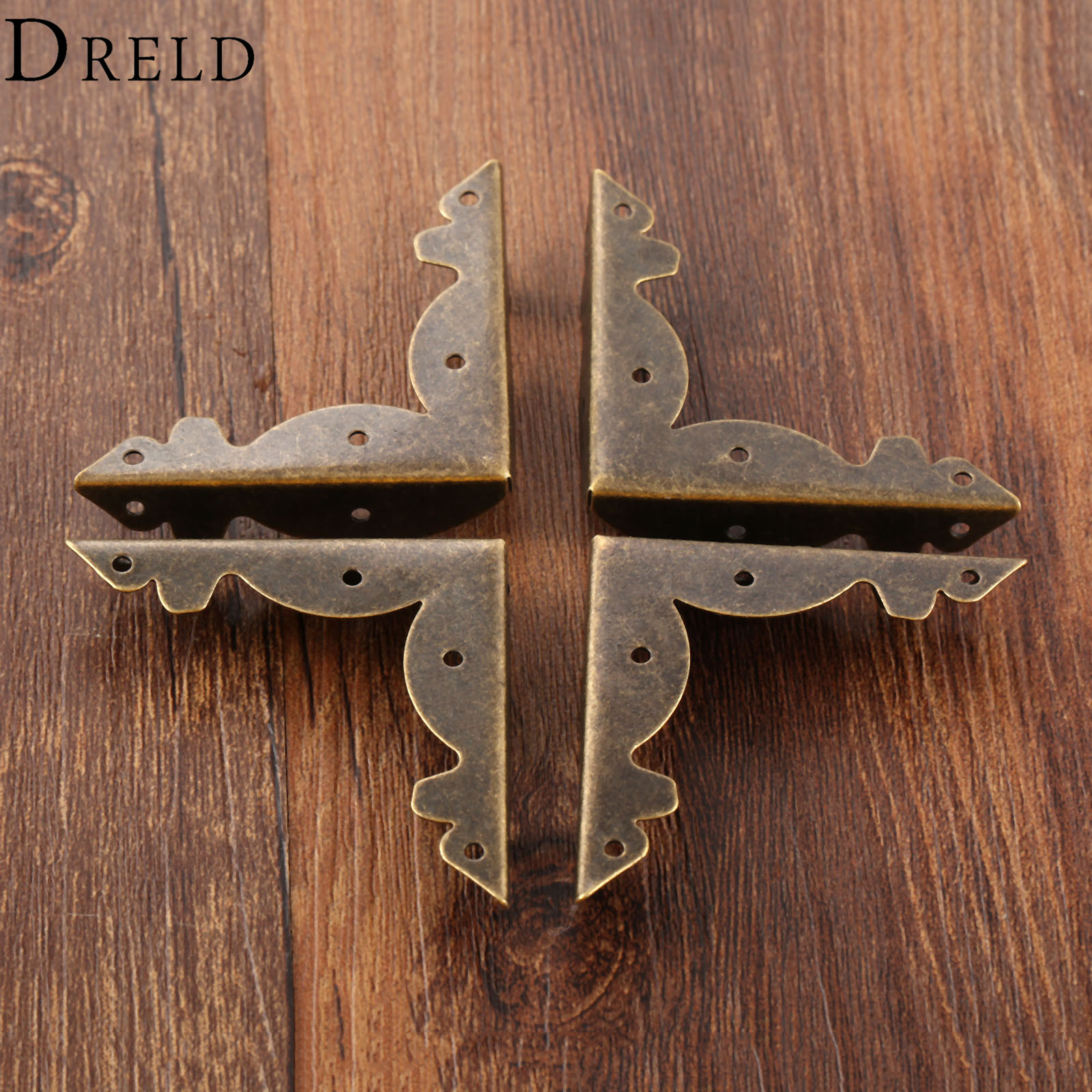 DRELD 4Pcs 36mm Antique Bronze Wood Box Feet Leg Corner Protector Guard Metal Crafts Decorative Bracket For Furniture Hardware 4pcs naierdi antique corner protector bronze jewelry chest box wooden case decorative feet leg metal corner bracket hardware