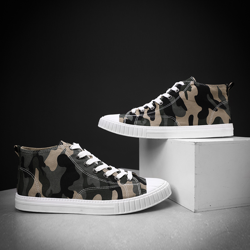 fashion high top men casual canvas shoes camouflage trend style leisure moccasins hip hop sneakers colors comfortable for men
