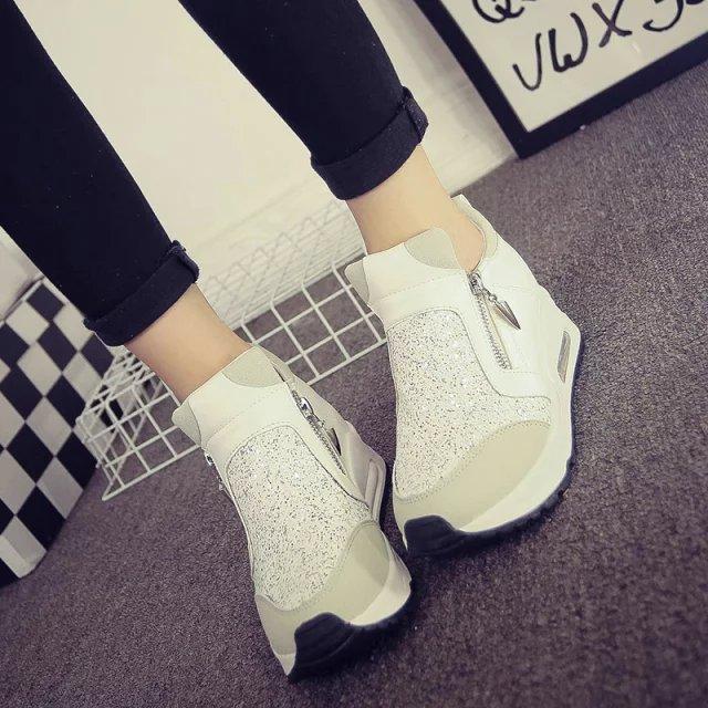 a9865e48 Otoño mujeres zapatos Casual Mujer Wedge zapatillas Mujer zapatos  deportivos para caminar zapatillas aumento de la altura en Calzado casual de  hombre de ...
