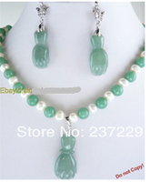 Wholesale price SHIPPING ^^^^Fashion Set White freshwater Pearl & Green jade Necklace Earring