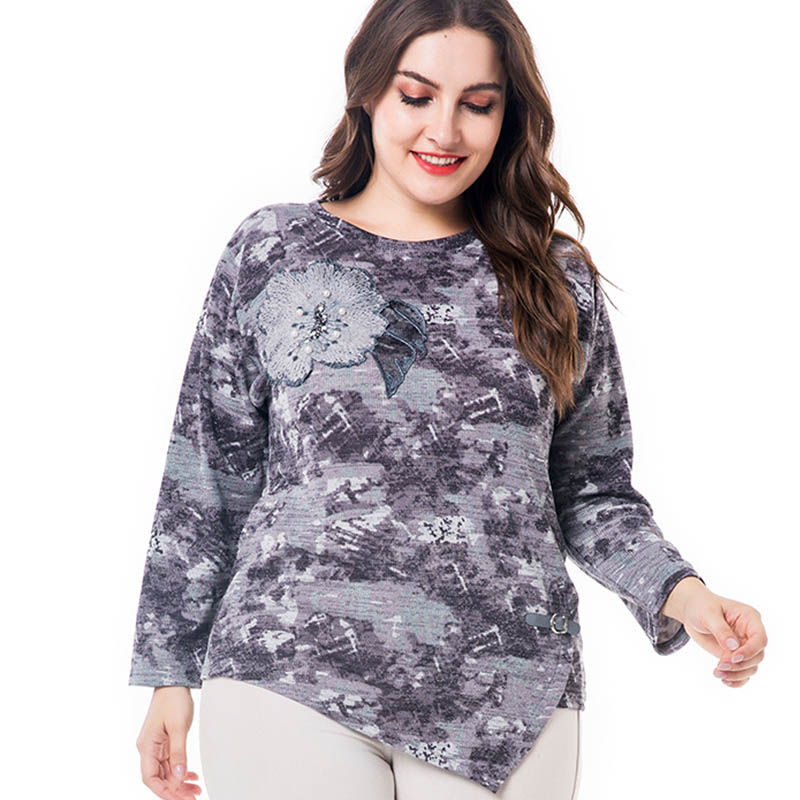 9d9e32ff2f6 Miaoke Plus Size Long Sleeve T Shirts Women 2018 Fall Clothing Fashion  Vintage Print Embroidery Graphic Tees Oversized Tops