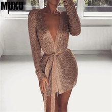 MUXU 2018 new long sleeve gold glitter dress mesh ladies dresses womens clothing club party fashionable clothes
