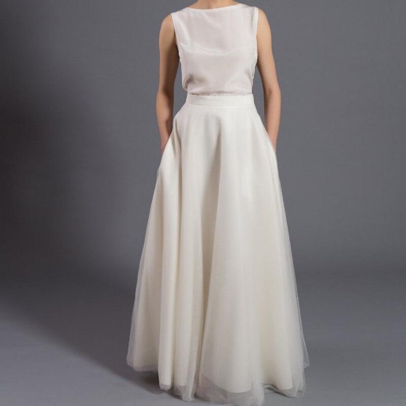 2016 Elegant Long Soft Tulle Skirts With Pockets High Quality Floor Length Tutu Skirt Zipper Style Women Wedding Party Skirt