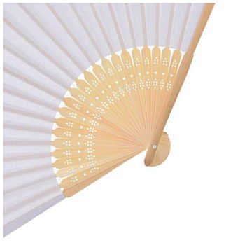 White Color 50 pcs Summer Chinese Hand Paper Fans Pocket Folding Bamboo Fan Wedding Hand Fans Folding Chinese Fans