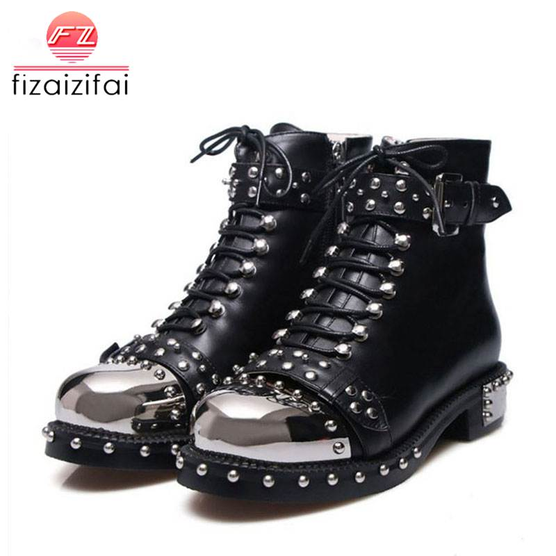 Coolcept Perfetto Punk Gothic Style Lace Up Belts Rivet Round Toe Boots Women Shoes Short Boots Haulage Motor Mujer Zapatos