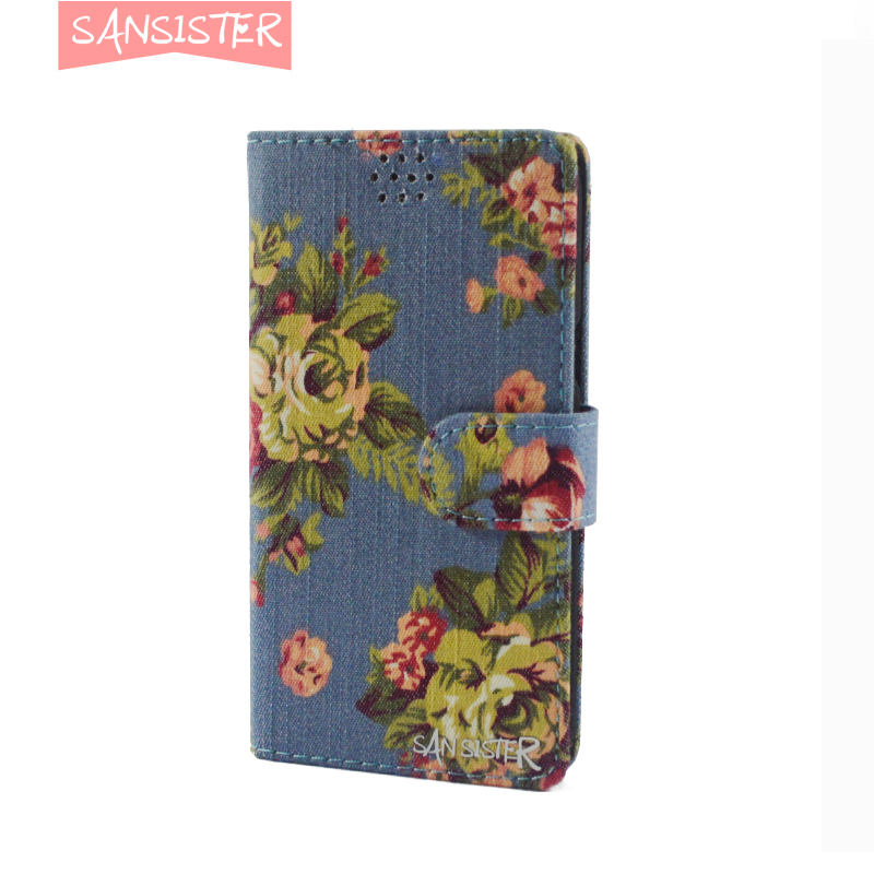 Denim flower case for blu studio 5 3 d590i customized demin fabric handmade bag with card
