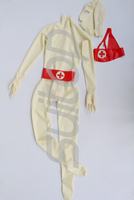 Полностью покрытый латексный боди, костюм, одежда ruber zentai, включая капоты, носки, перчатки с молнией сзади спереди, включая марлевую маску