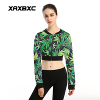 New Arrival 003 Sexy Women Gir Weeds Maple Leaf 3D Prints Sport Jogging Suits Short Zipper