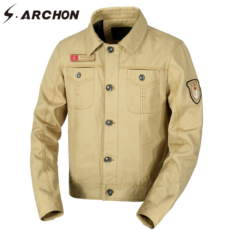 S.ARCHON Autumn Military Tactical Pilot Jackets Men Casual Street Outerwear & Coat Cotton Bomber Jacket US Air Force Flight Army