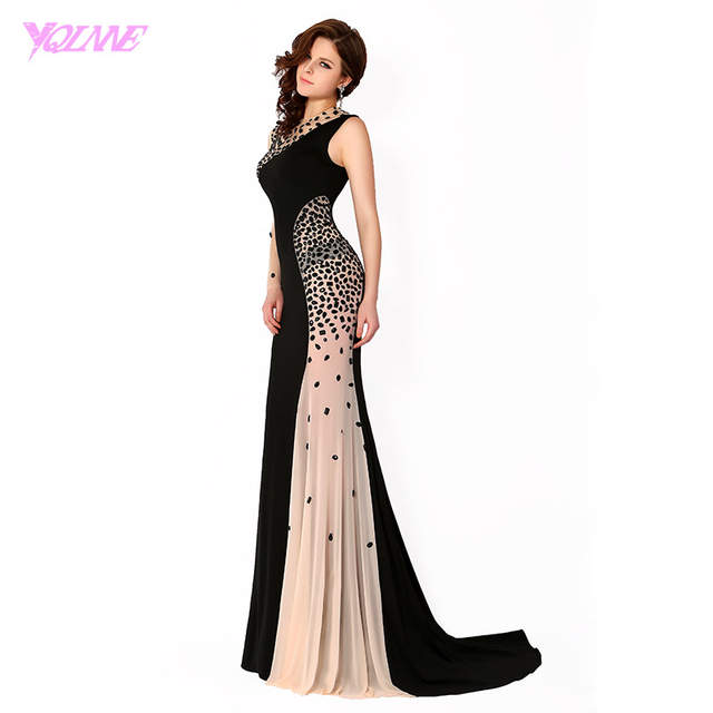 placeholder YQLNNE 2018 Black Long Sleeve Prom Dresses Mermaid Evening Gown  One Shoulder Crystals Chiffon Party Dress 82acc34b8cbf