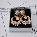 2016 nova boate da moda Europeia retro Barroco cerâmica flor exagerada brincos longos brincos wholesale424