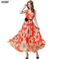 YAGENZ 2017 Summer Style Chiffon Maxi Dress Elegant Ladies Long Dresses Sexy Print Beach Bohemian Dress