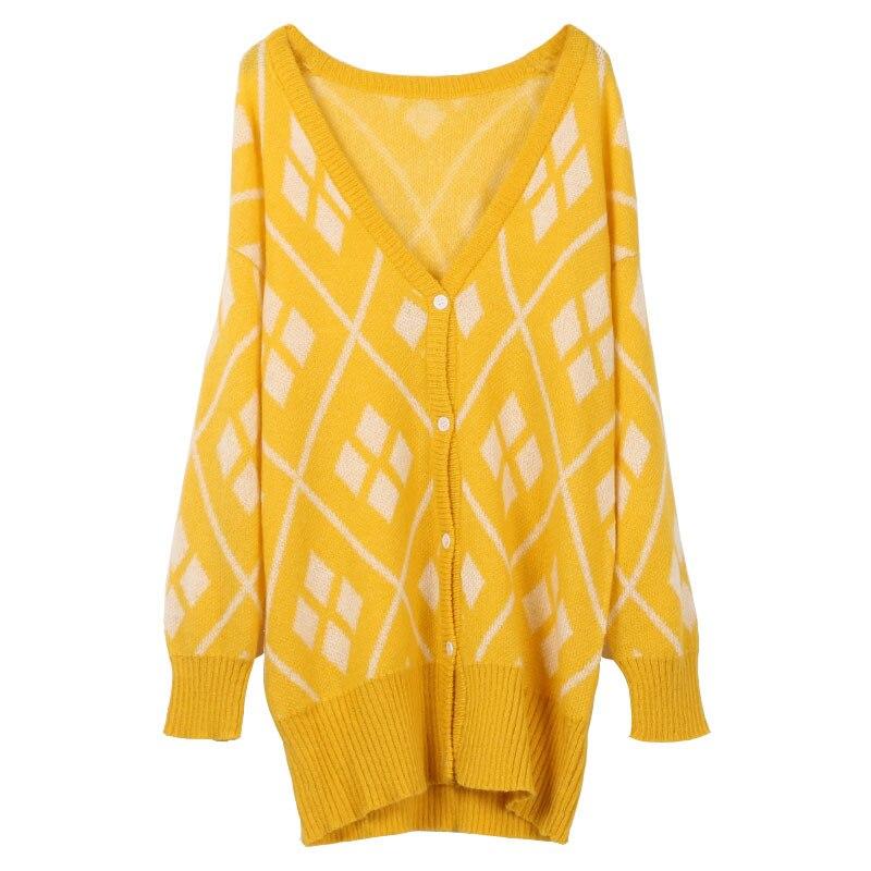 Женский длинный кардиган GRUIICEEN однобортный вязаный свитер с геометрическим