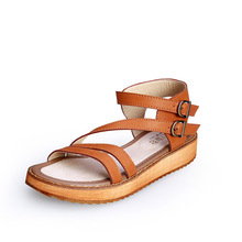 Plus Size 35 43 Buckle Strap Leather Soft Sandals Flat Open Toe Summer Platform Shoes font