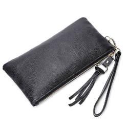 2018 однотонный Pu кожаный женский мужской модный тонкий кошелек для монет держатель мобильного телефона клатч сумка для денег на молнии