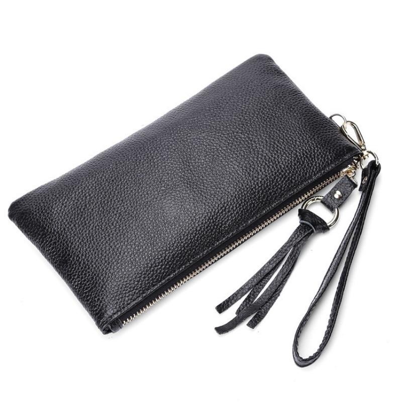 Genuine Cow Leather Women Men Fashion Slim Coin Purse Mobile Phone Holder Clutch Money Bag Zipper Case Long Wristlet RFID Wallet
