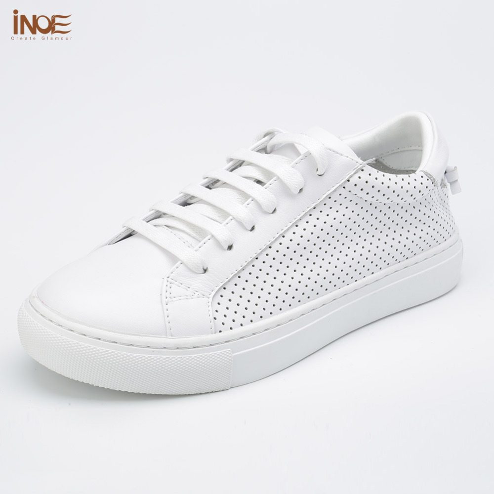 INOE 2017 new fashion style real genuine cow leather women summer lace up shoes for lady white flats high quality loafers 2016 new women s fashion shoes spring summer style casual flats lace up pointed toe leather plus size 35 41 loafers for girls