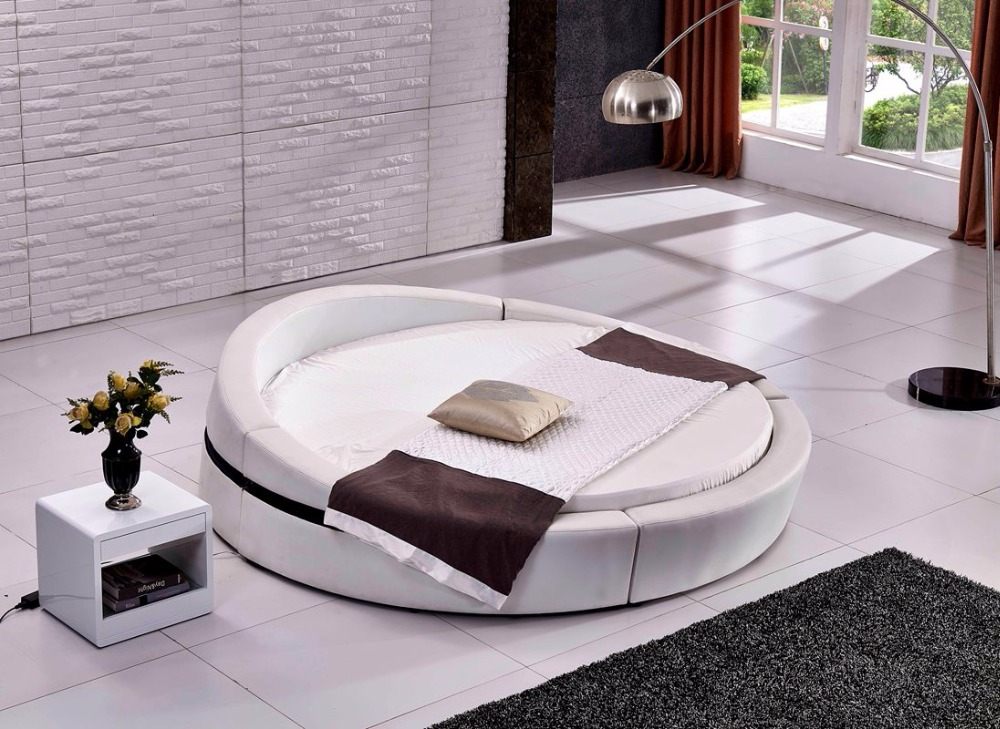 Contemporary Modern Top Grain Leather Round Bed Bedroom Furniture Made In China In Beds From