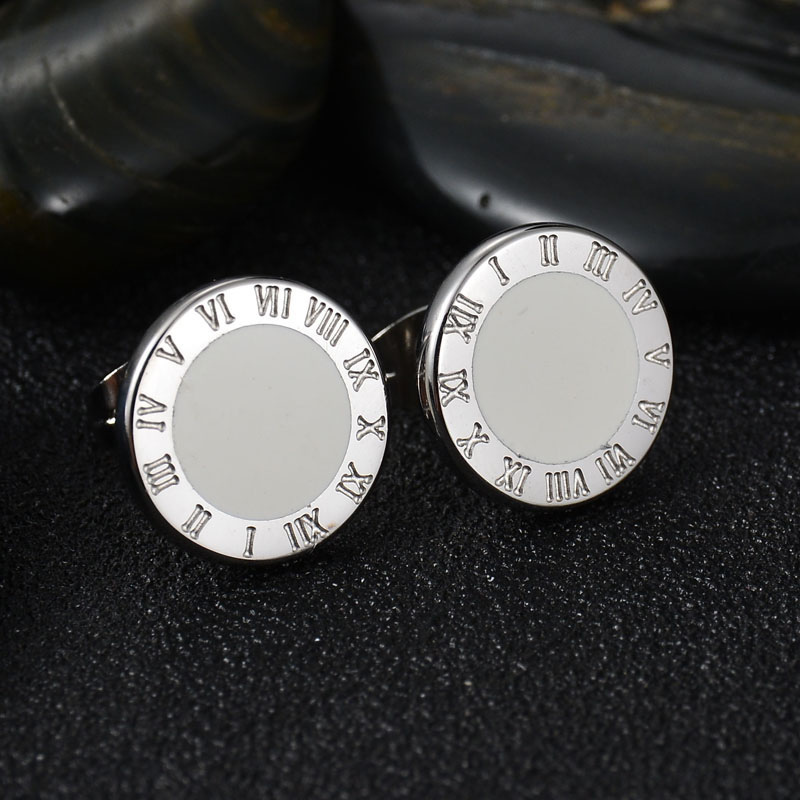 New Arrive Never Fade Stainless Steel Resin Round Earring Engraving Sliver Plated Stud Earrings Female Gift Bijoux