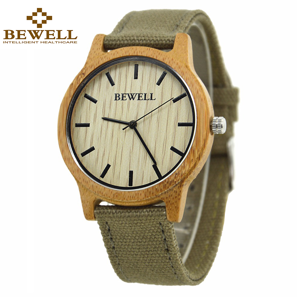 BEWELL Fashion & Casual Mens Wood Horloges met stoffen band - Herenhorloges