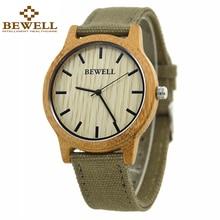 Bewell 패션 & 캐주얼 망 우드 시계 패브릭 밴드 방수 손목 시계 상자 134a