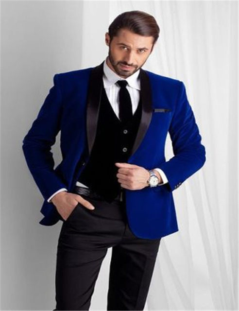 Online Shop Royal Blue Velvet groom dresses, slim groommens suits ...