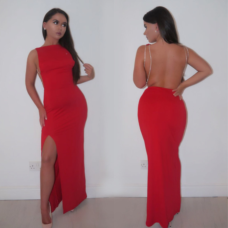 3a10ee78b9f Summer Sexy backless Dress Women red split bodycon Long Dress Maxi Dress  party Female Vestidos robe longue femme-in Dresses from Women s Clothing on  ...