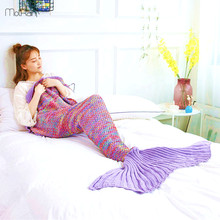 90*180 cm Kasjmier Dekens voor Bedden Mermaid Deken Gebreide Mermaid Tail Dekens Winter Sofa Lijn Deken Dropshipping(China)