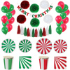 Ipalmay Red Green Christmas Decoration Tableware Striped Paper Plates Cups Bunting Banner Paper Pom Poms Tassel