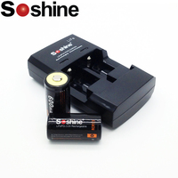 2pcs Soshine 16340 RCR123 LiFePO4 battery 3V 600mAh Rechargeable protected batteries with Soshine CR2 CR123 LiFe 3.0v charger