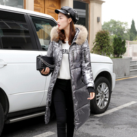 Fashionable metallic gold silver colored bright jacket with hooded coat For women winter warm cotton soft long parks New bomber