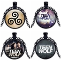 Caxybb 1 pcs Teen Wolf Logo Pendants and Necklace for Women / Men Vintage Cabochon Striking Necklace Chain Black hot selling