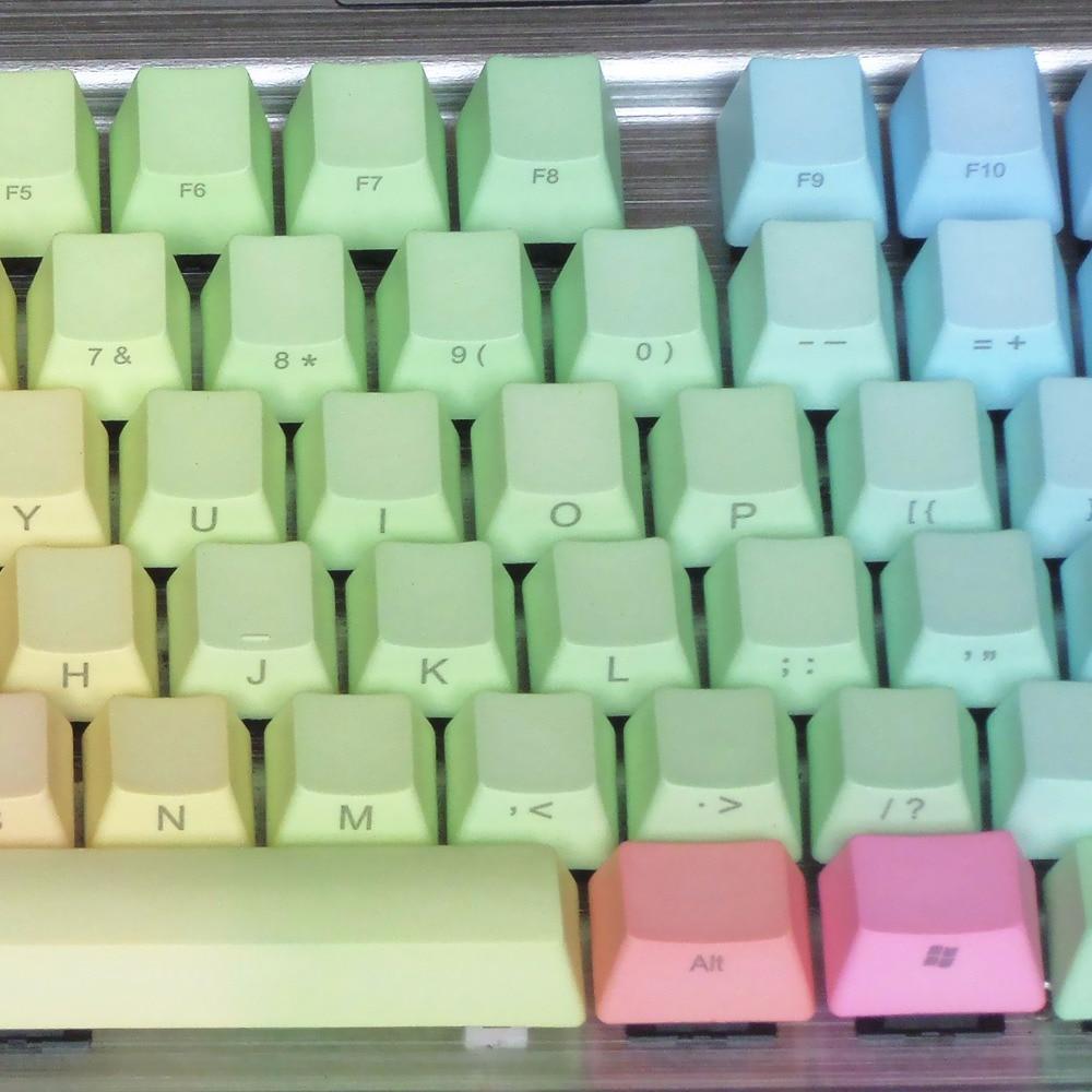 все цены на  Mechanical Keyboard Keycaps Thick PBT keycaps Rainbow OEM 104/87 Key ANSI Layout Cherry MX Switches/  Side-laser Engraving  онлайн