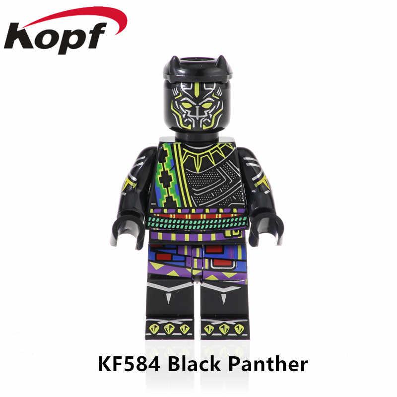 KF585 ขายเดียวซูเปอร์ฮีโร่ Black Panther ตัวเลขสีดำแมวชุดเสื้อคลุมการเรียนรู้บล็อกอาคารเด็กของเล่นที่ดีที่สุด