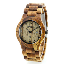 Top Brand BEWELL Watch Wood Watches Men Analog Quartz Movement Date Clock Men Women Wooden Wristwatch Relogio Feminino Masculino