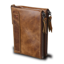 Qi Wang Genuine Leather Men Wallet Vintage Male Cow Purse Small wallet double zipper