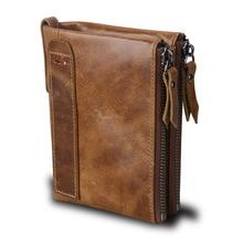 Qi Wang Genuine Leather Men Wallet Vintage Male Cow Purse Small wallet double zipper