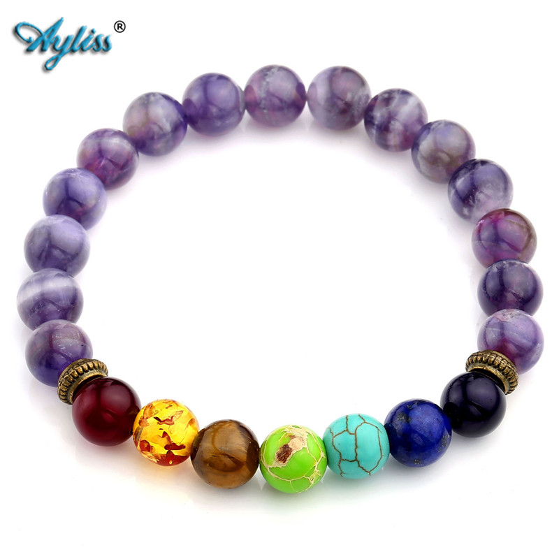 Ayliss Natural Purple Quartz Stone Bead 7 Chakra Healing Balance Náramek Láva Jóga Reiki Modlitba 8mm Korálek Armbanden Voor Vrouwen
