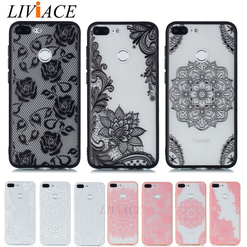 separation shoes 0a9ec 5ef62 3D lace flower phone case on for HUAWEI honor 9 lite girl tpu silicone back  cover for huawei honor9 lite 9lite 5.65