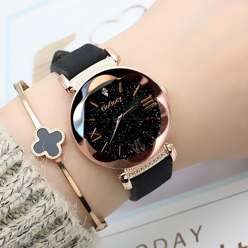 2019 Watches Women Fashion Gogoey Brand Leather Ladies Dress Personality Romantic Starry Sky Quartz Wristwatch Reloj Mujer