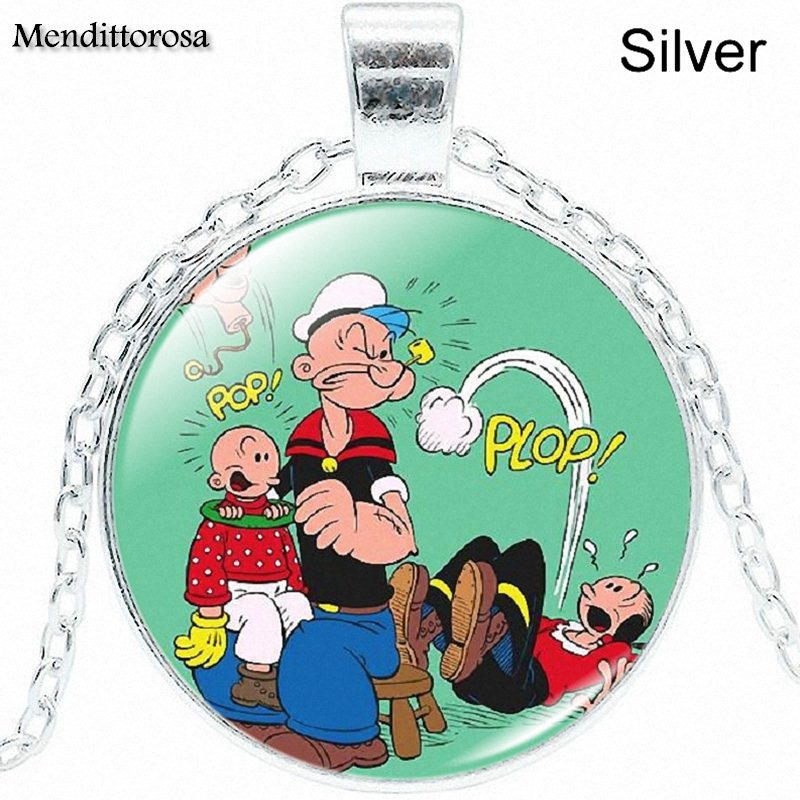 Mendittorosa For Women Handmade Girls Popeye Jewelry With Silver Plated Glass Cabochon Choker Pendant Necklace